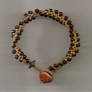 Beaded Bracelet marron & yellow 001