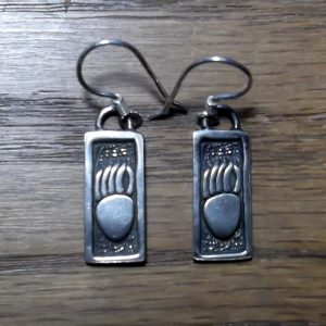Bear Paw Silver Earrings