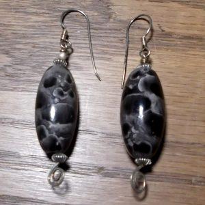 Black & Gray Bead Earrings