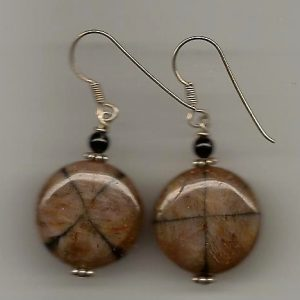 Brown Round Agate Earrings 001