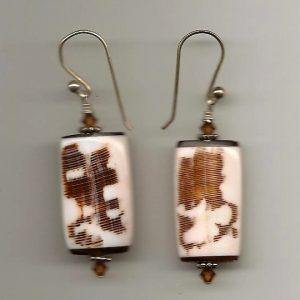 Earrings - brown & white 001